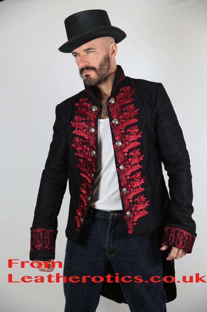 Men's Tailcoat Morning Dress Victorian jacket Top Red STP7 side look