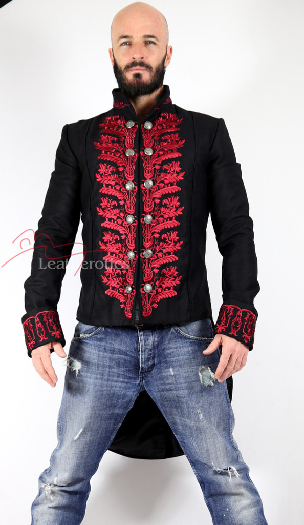Men's Tailcoat Morning Dress Victorian jacket Top Red STP7 front