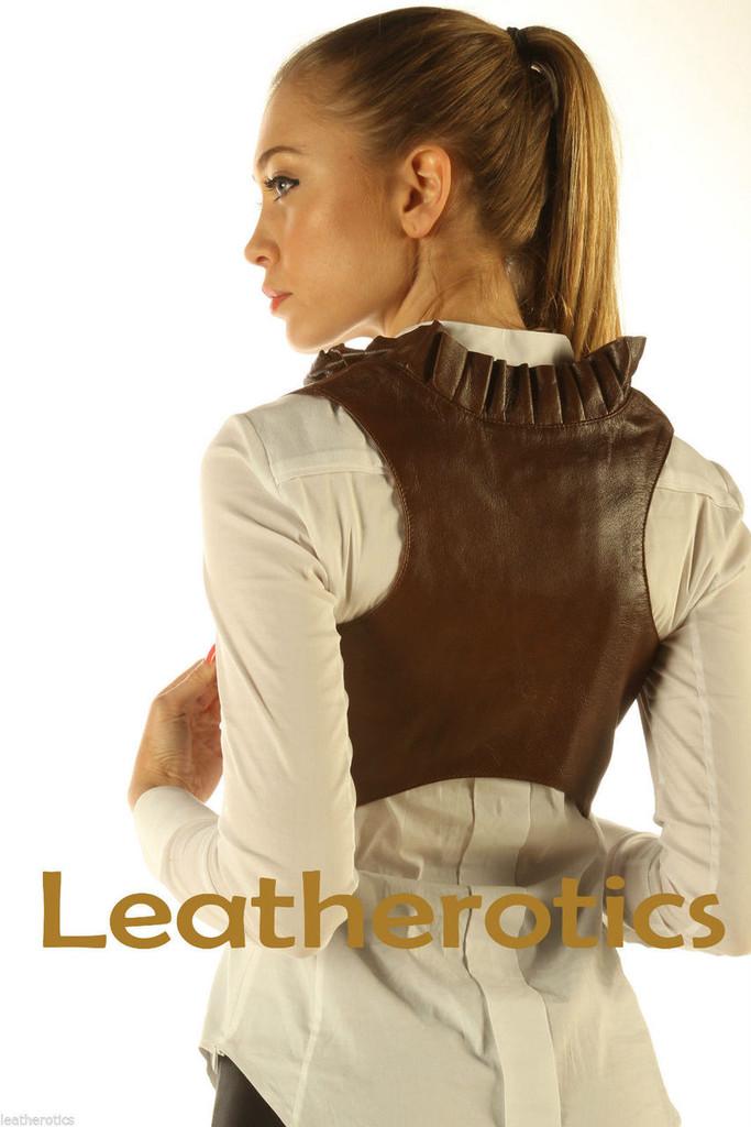 Ruffled Antique Brown Real Leather Waistcoat Vest Steampunk Bolero back look