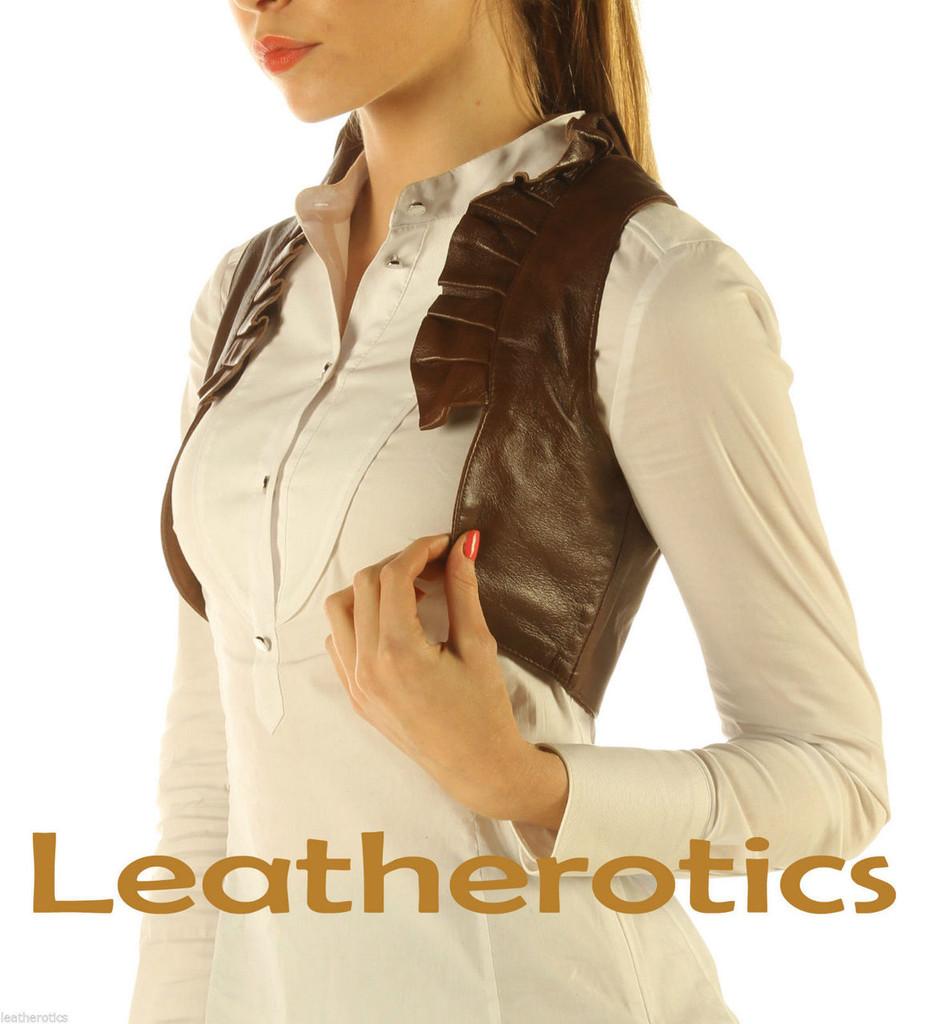 Ruffled Antique Brown Real Leather Waistcoat Vest Steampunk Bolero