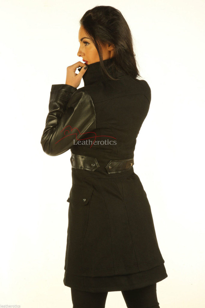 Leather Wool Coat With Full Grain Leather Arm Sleeves Tight Fit in black colour image 2