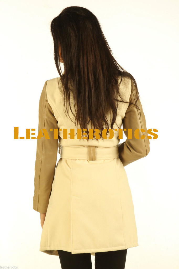 Soft Wool Coat With Full Grain Leather Arm Sleeves Of White Tan image 2