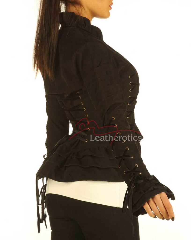 Black Steampunk Goth Victorian Ladies Jacket SP7 details