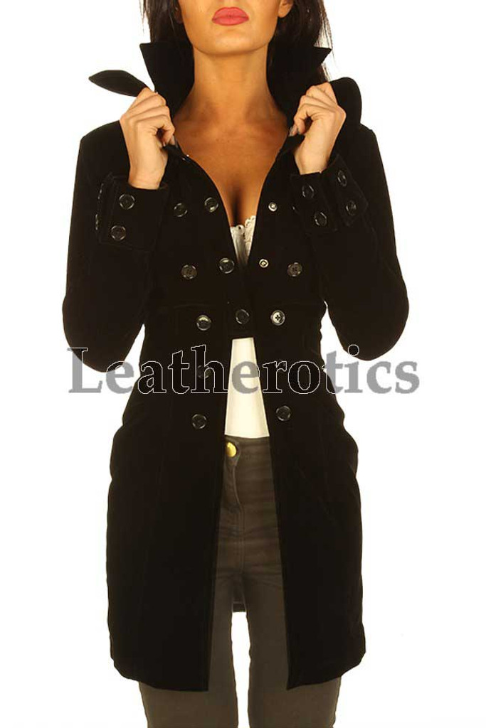 Black velvet Steampunk Goth Victorian Ladies retro jacket WTC1