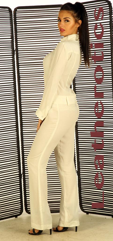 White nude linen cotton Jumpsuit pic 1
