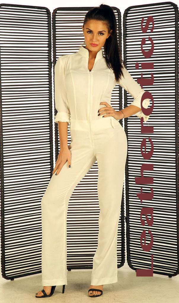 White nude linen cotton Jumpsuit pic 3