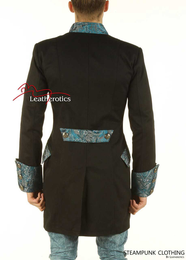 Black Cotton Gothic Steampunk Vintage Dress Coat Pirate Military Top