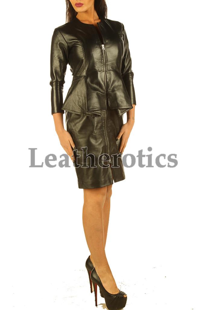 Elegant Black Leather Dress