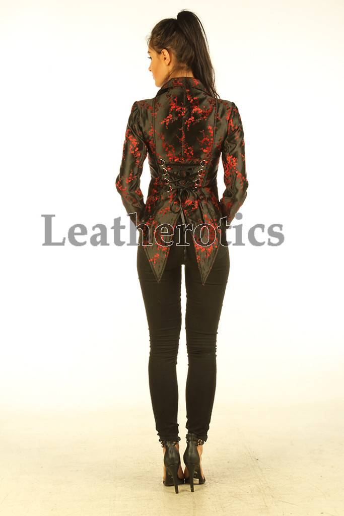 Ladies Tail Coat Victorian Flock Steampunk Jacket Red Cherry