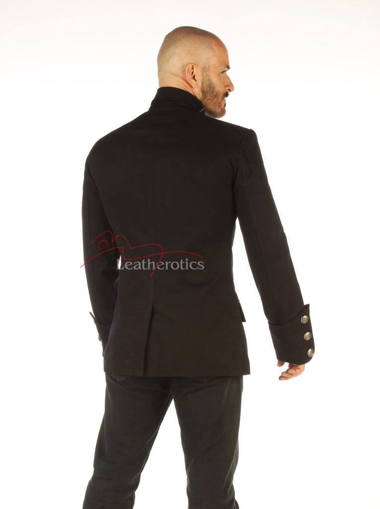 Men's Steampunk Military jacket Top Mandarin Collar jacket - back