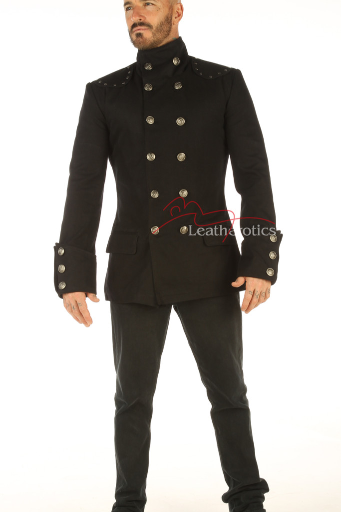 Men's Steampunk Military jacket Top Mandarin Collar