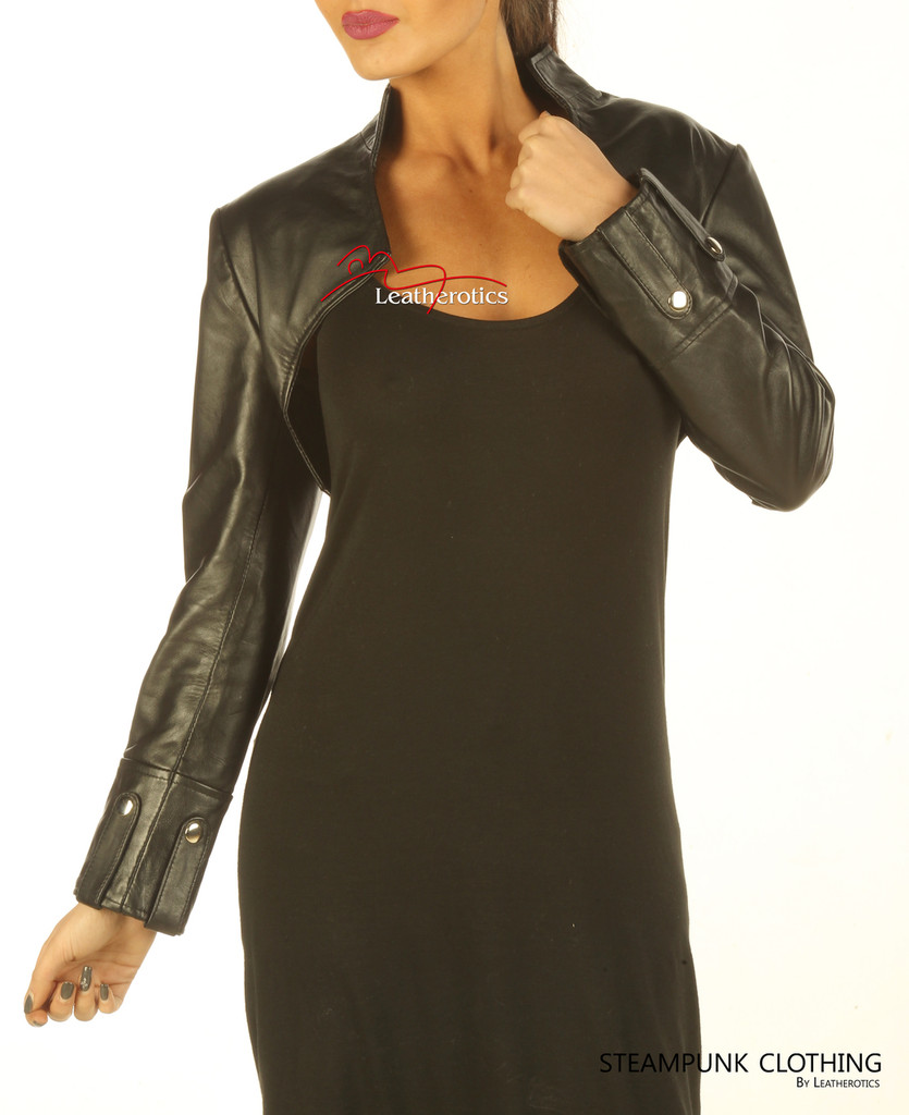 Ladies Leather Top Bolero with long sleeves