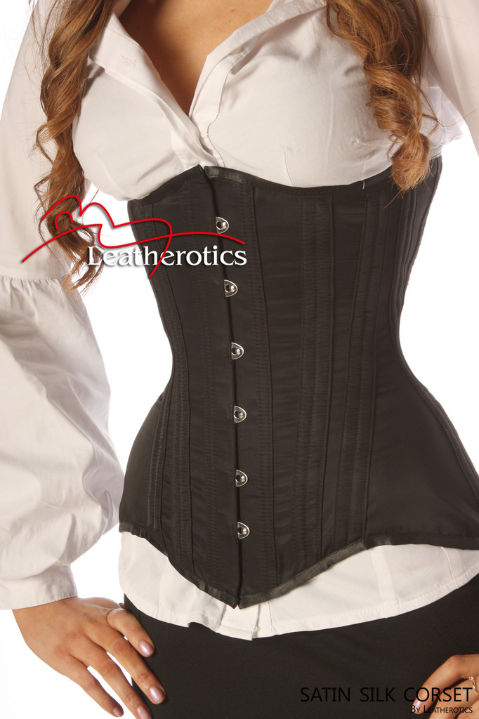 Heavy steel boned Black Satin Underbust Corset 1825 image 2