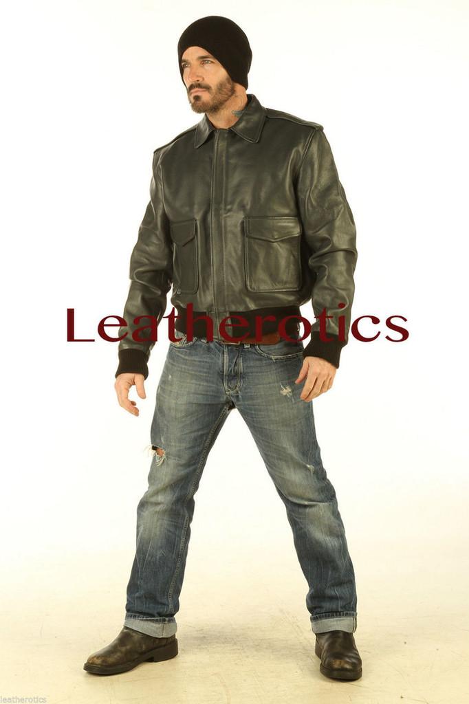 Full Grain Leather Jacket Classic Waist Length Cowhide