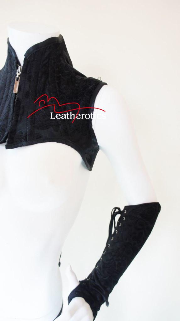 Black leather Shoulder Corset and  Gloves Gauntlets Black  steampunk fetish