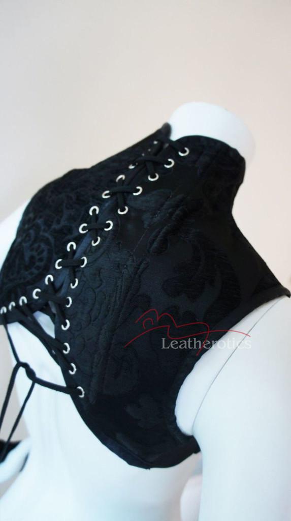 Black leather Shoulder Corset and  Gloves Gauntlets Black steampunk bdsm
