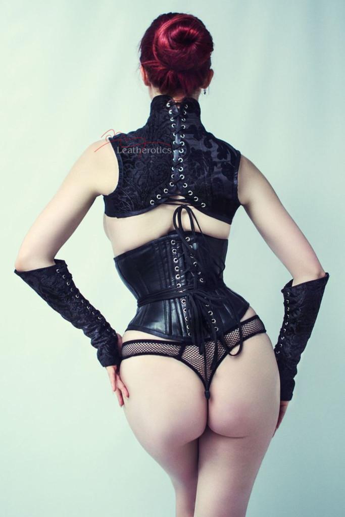 Black leather Shoulder Corset and  Gloves Gauntlets Black Set pic 6 back