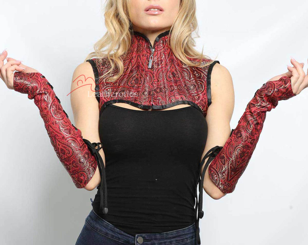 Maroon Shoulder Corset With Gloves Gothic  image 2