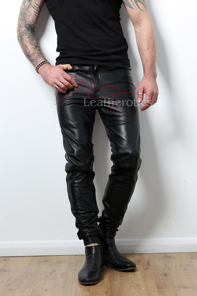 Skin Tight Full Grain Leather Men's Soft Trousers  - front