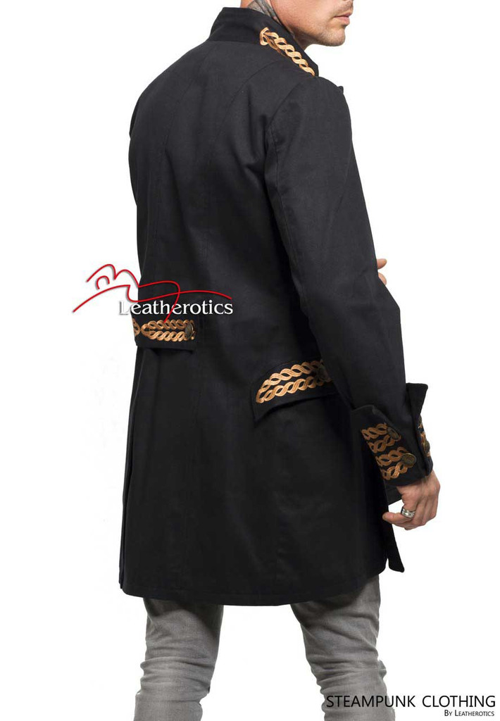 Black Cotton Steampunk Vintage Dress Coat Pirate Military Top