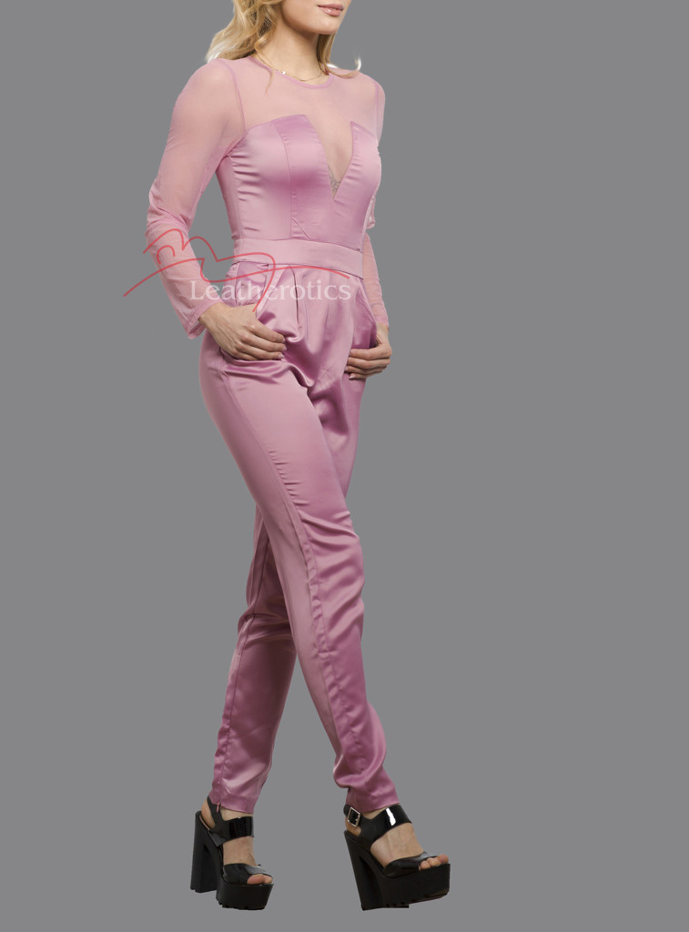 Plunge Jumpsuit/Playsuit/Catsuit All In One Dress With Mesh Arms Pink Side View