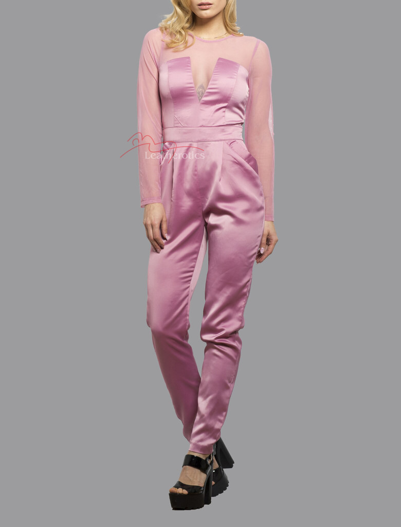 Plunge Jumpsuit/Playsuit/Catsuit All In One Dress With Mesh Arms Pink Front View