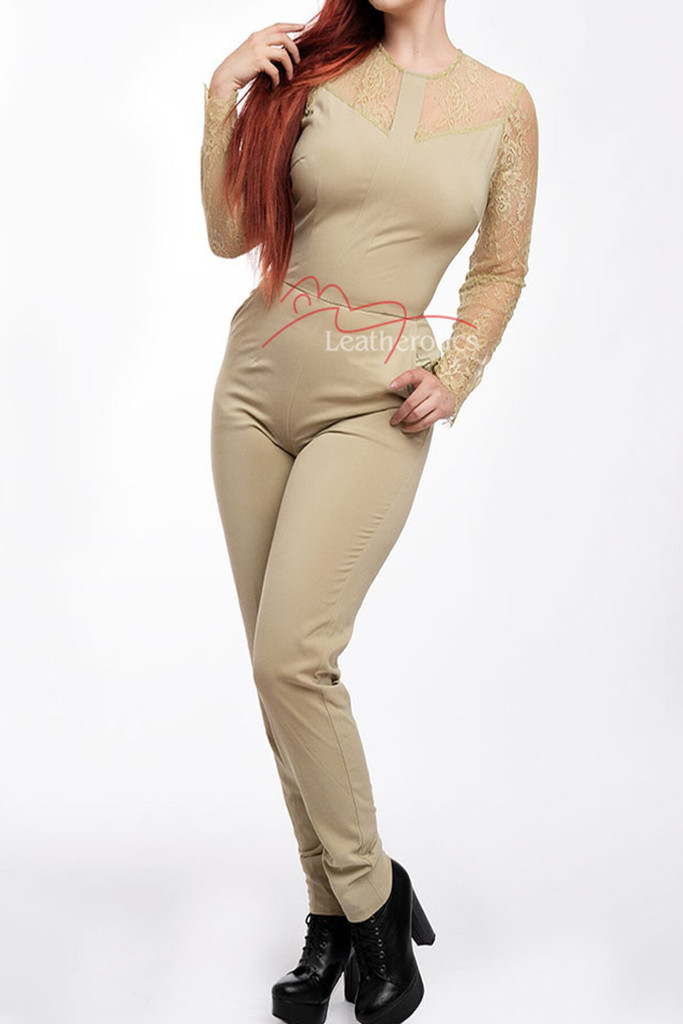 Women's Jumpsuit Dress With Mesh Arms Beige