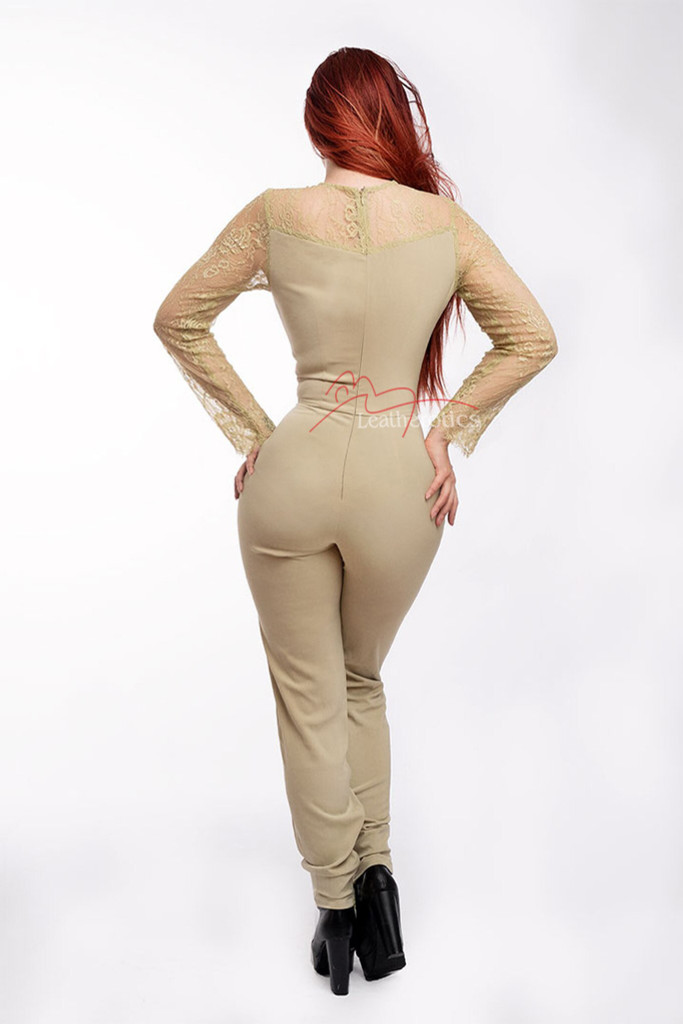 Women's Jumpsuit Dress With Mesh Arms Beige Back