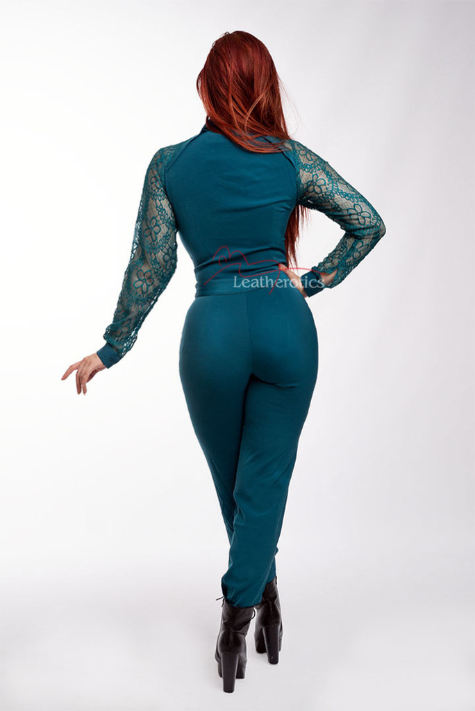 Women's Jumpsuit All in One Dress with Mesh Arms Alle Blue back