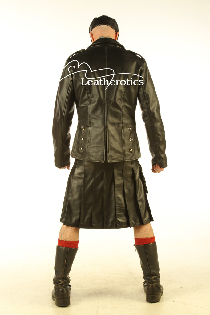 Mens Real Leather Kilt Top Prince Charlie jacket Full Grain