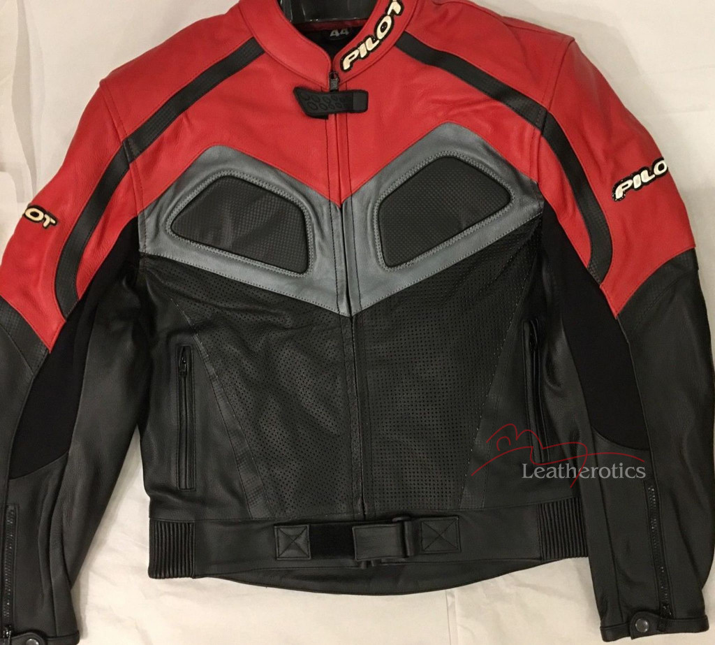 New Full Grain Leather Mens Biker Suit Jacket Red/Black/Grey