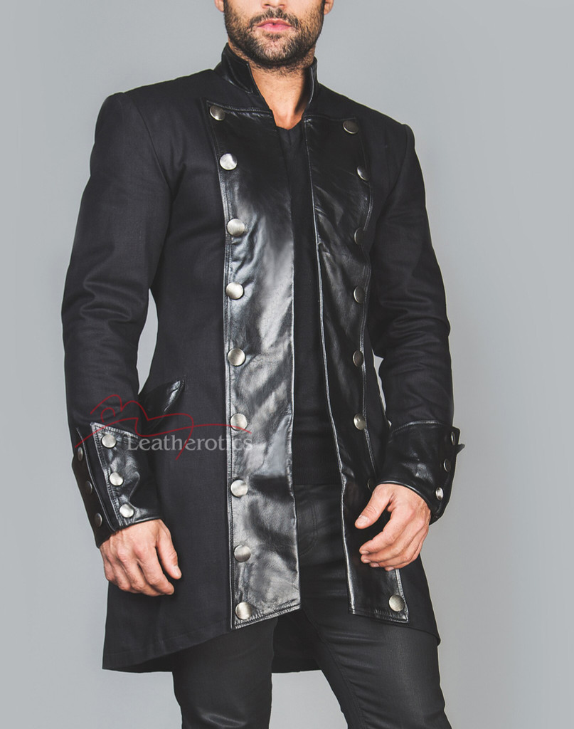 Unique Gothic Steampunk Jacket with Leather details