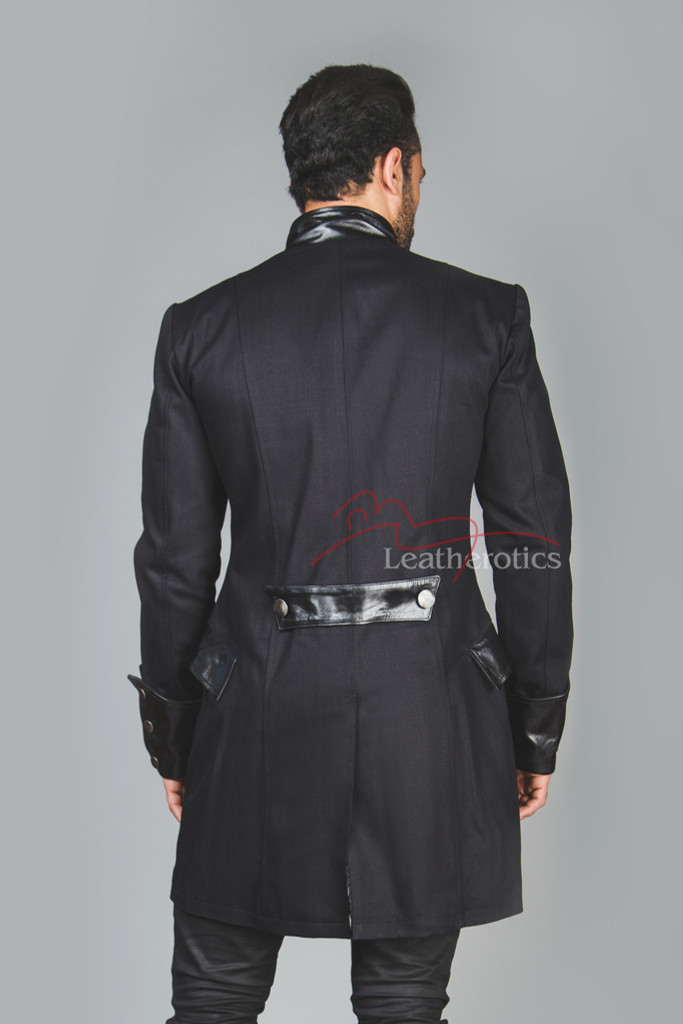 Unique Gothic Steampunk Jacket with Leather black (back view)