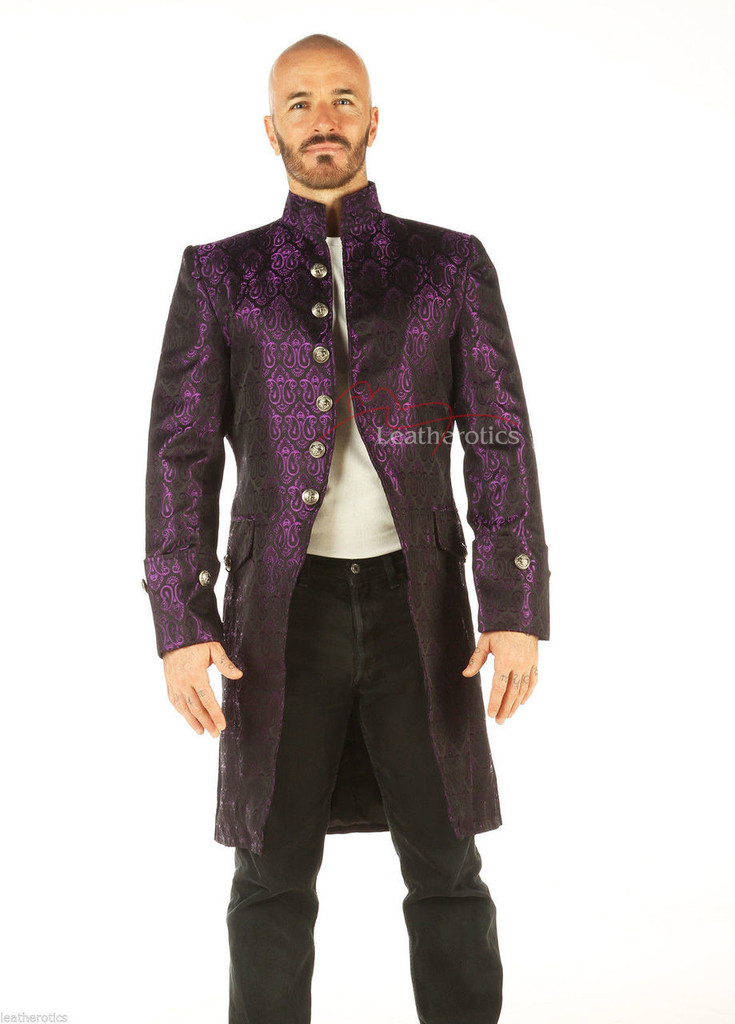 Steampunk gothic Clothing vintage mens coat pic 1