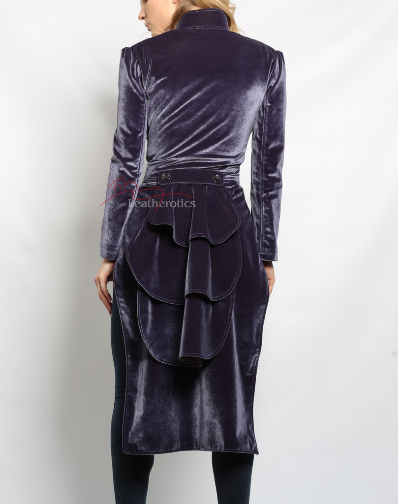 victorian steampunk velvet ladies jacket-purple colour (back view)