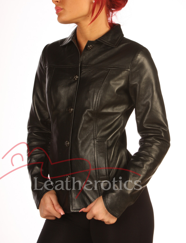 Black Leather Dress Shirt Jacket BG2 side