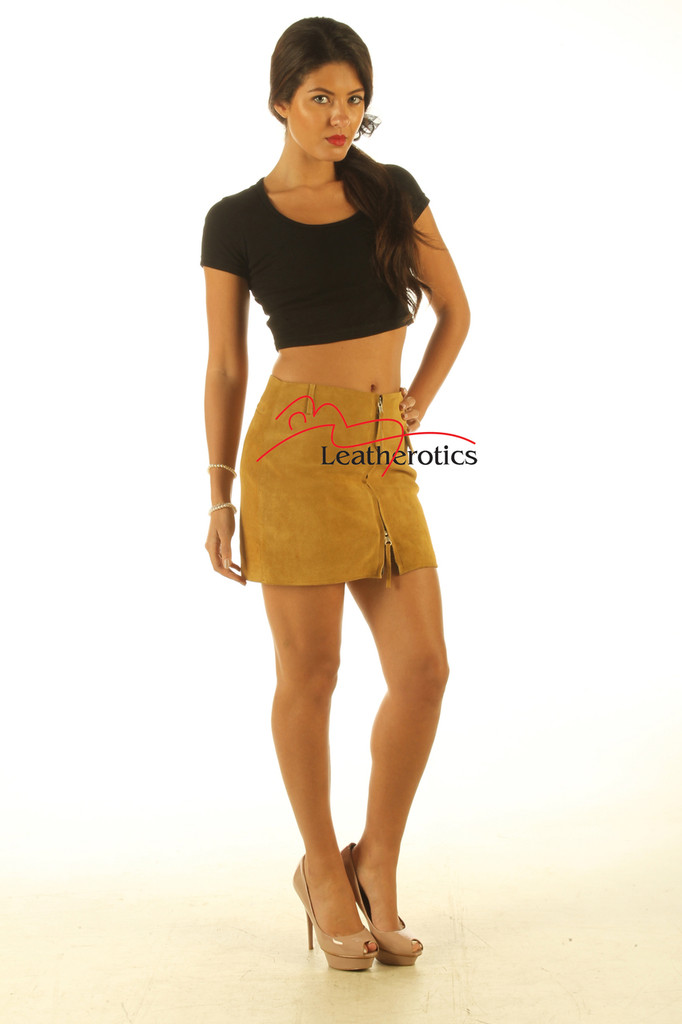 Tan Suede Leather Skirt Classic Design