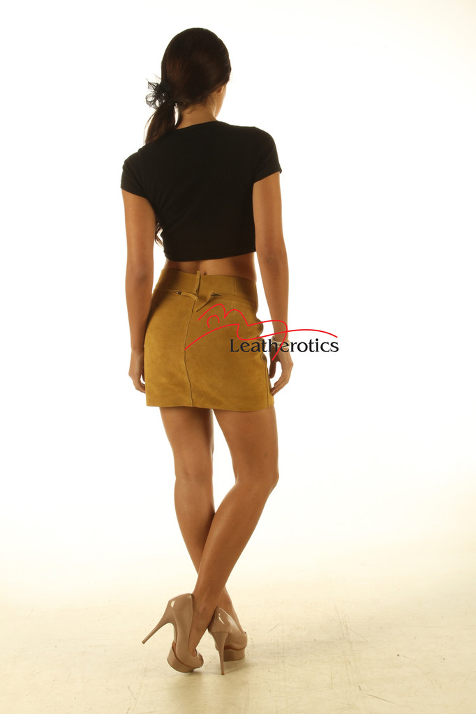 Tan Suede Leather Skirt Classic Design image 2