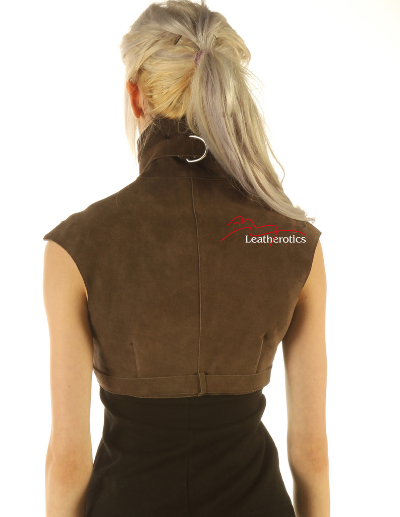 Suede Leather High Waisted Short Waist Coat image back