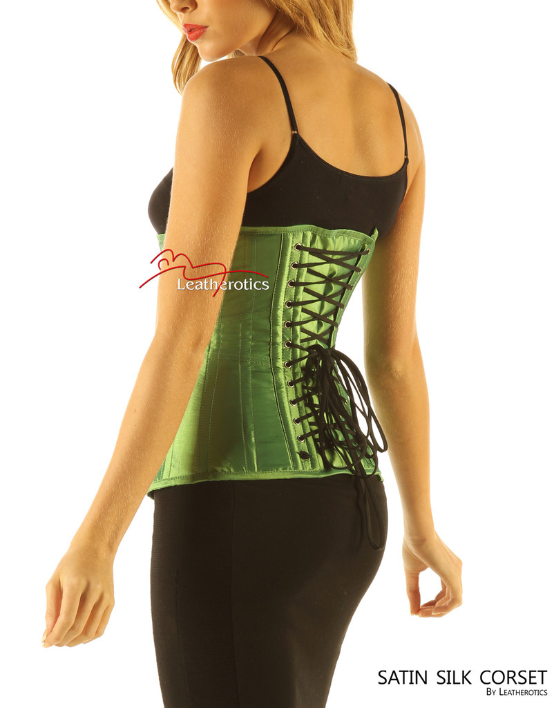 Green Satin Under Bust Steel Boned Hipster Corset side look