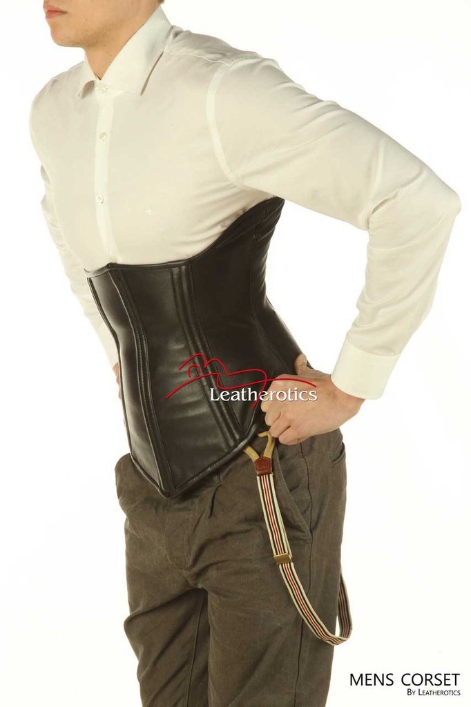 Underbust Mens Leather Corset Tight Lacing