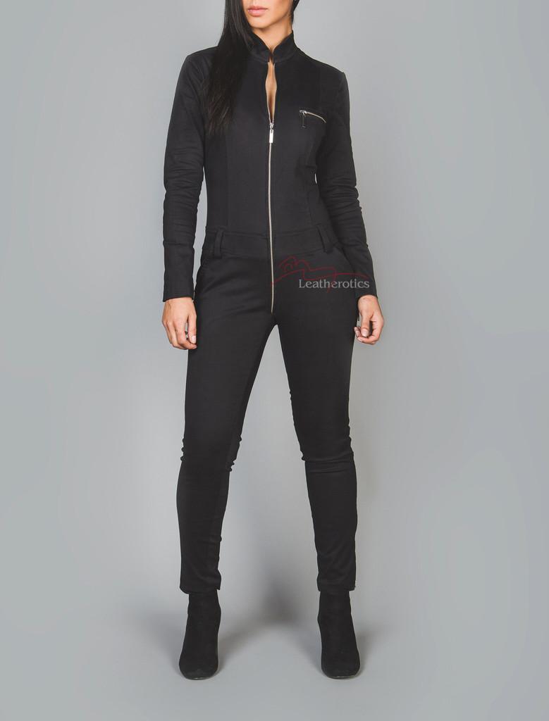 Black cotton catsuit