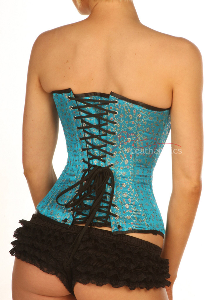 Turquoise Full Steel Boned Corset with modesty panels back