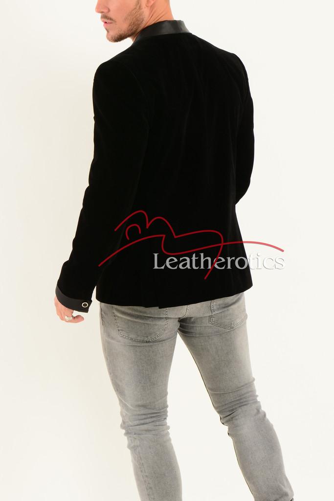 Black Velvet Men's Vintage Style Blazer - back