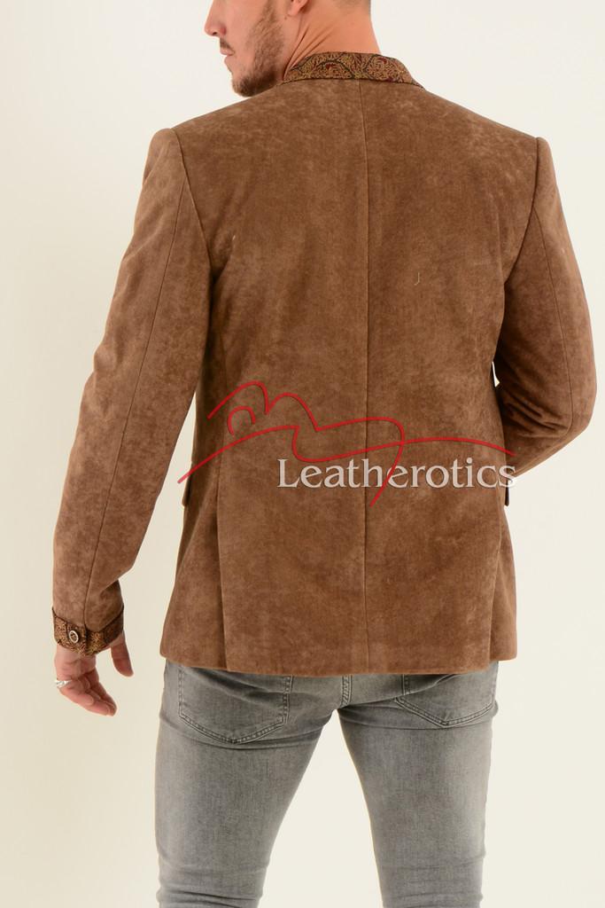 Men's Tan Velvet Blazer - back