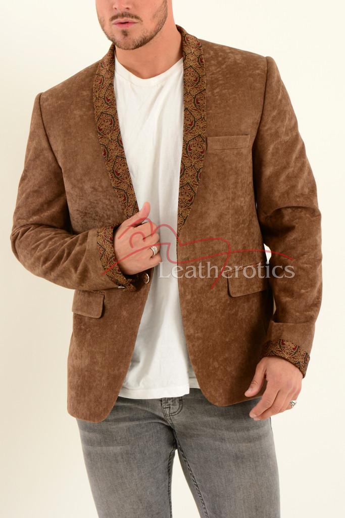 Men's Tan Velvet Blazer 3