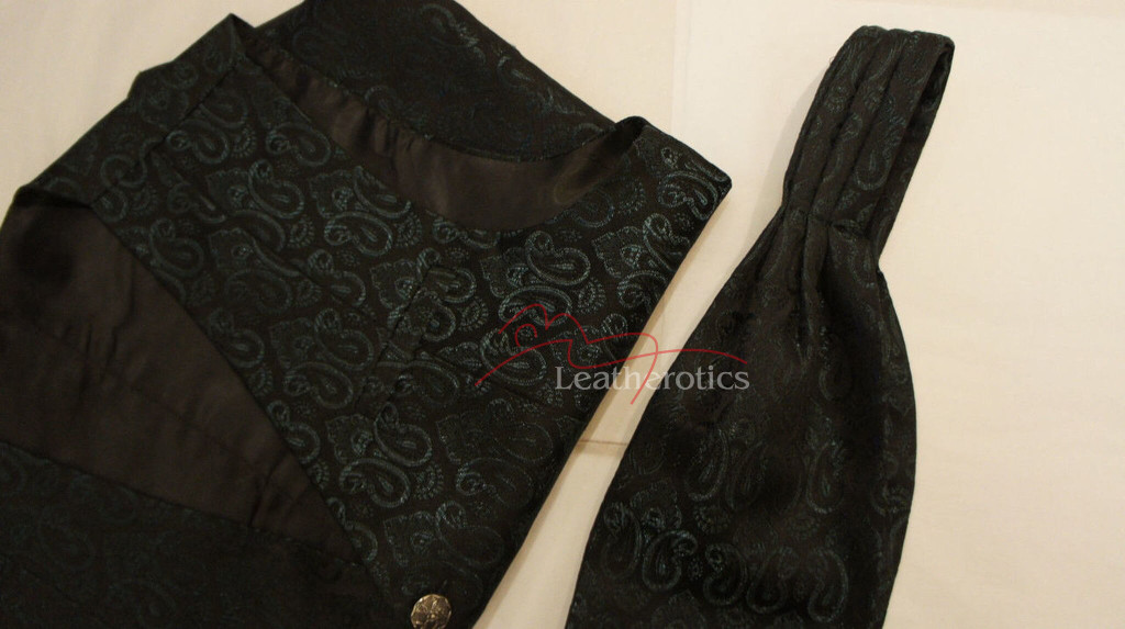 Mens Waistcoat Vest Brocade Gothic Steampunk Wedding Paisley Luxury 7