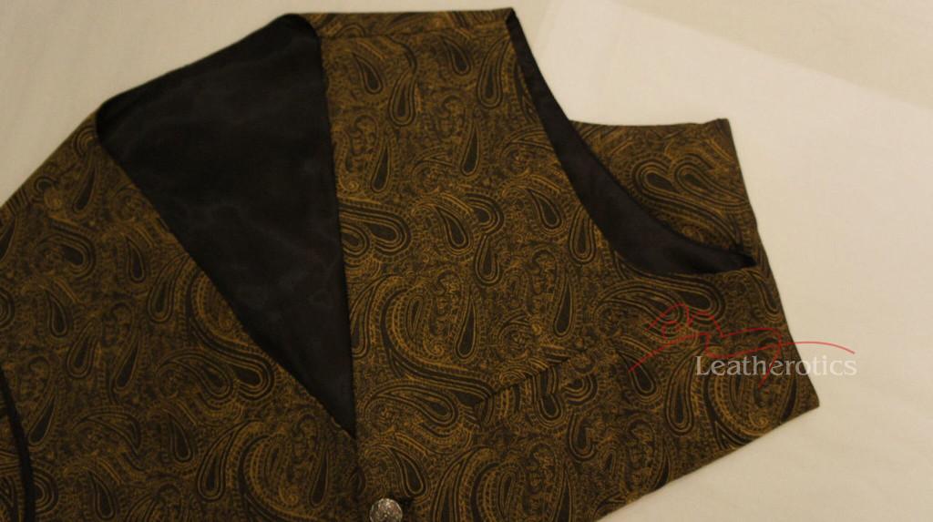 Mens Waistcoat Vest Brocade Gothic Steampunk Wedding Paisley Luxury 5