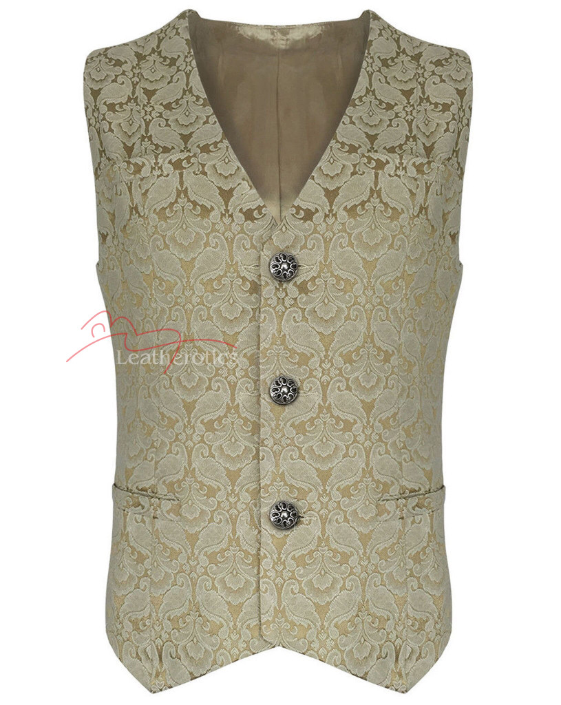 Mens Waistcoat Vest Brocade Gothic Steampunk Wedding Paisley Luxury 1