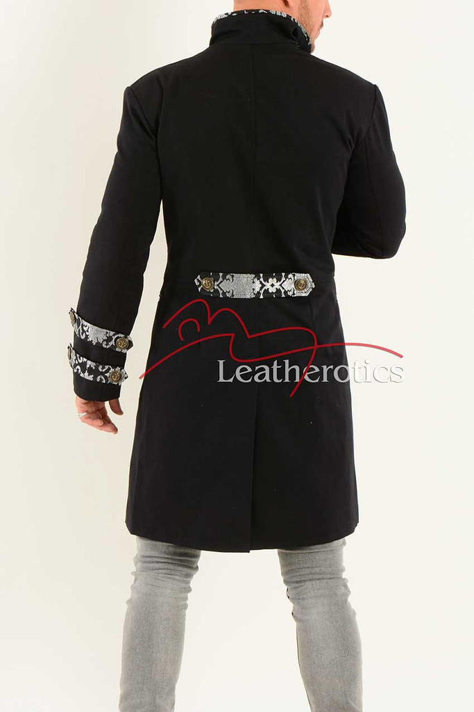 Men's Tailcoat Jacket Black Cotton MTC5 Back